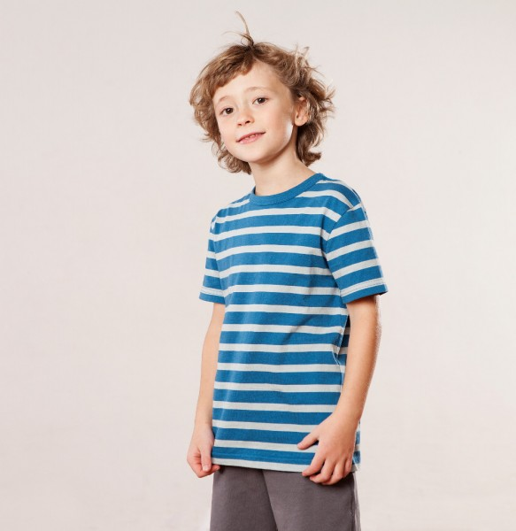 Living Crafts T-Shirt blue grey striped