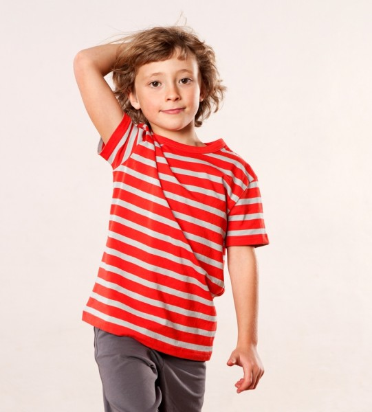 T-Shirt red/grey striped
