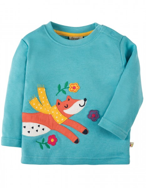 Little Applique Top aqua/Fox