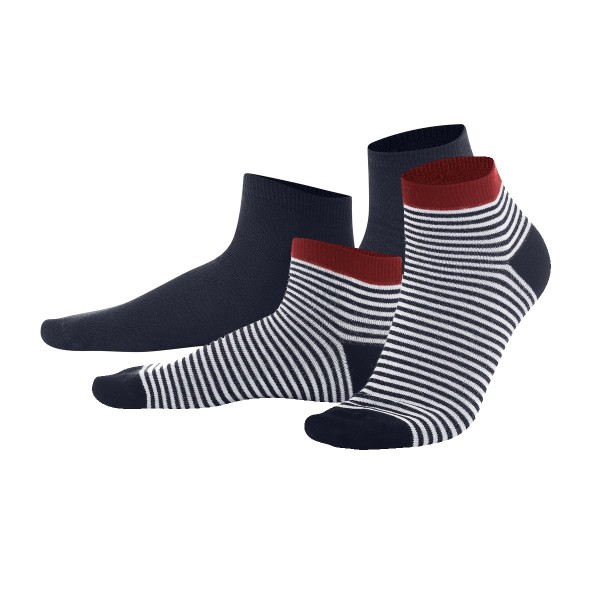 Sneaker-Socken für Kinder, 2er Pack dark navy/white stripe