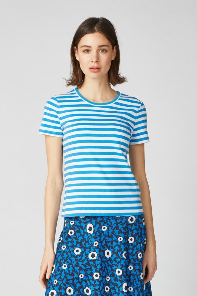 T-Shirt Emilia Bright Blue-Ecru
