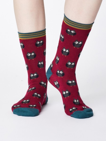 Damensocken Owlie Cranberry