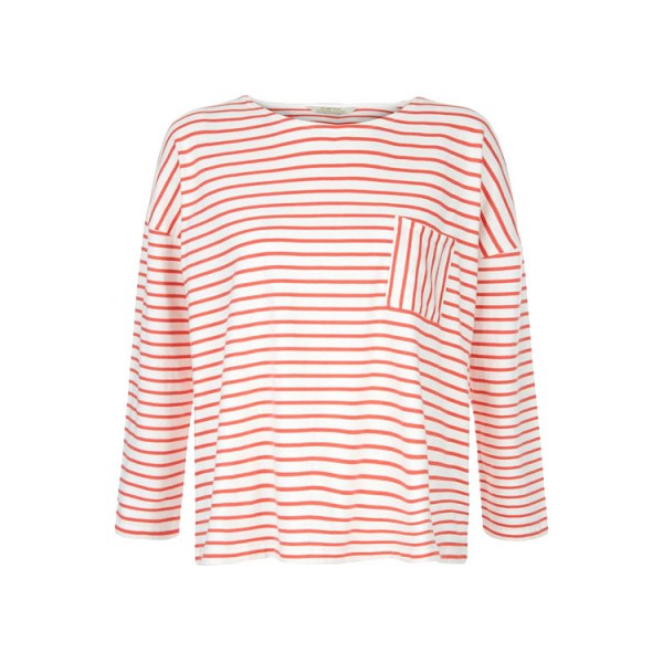 Elba Stripe Top coral