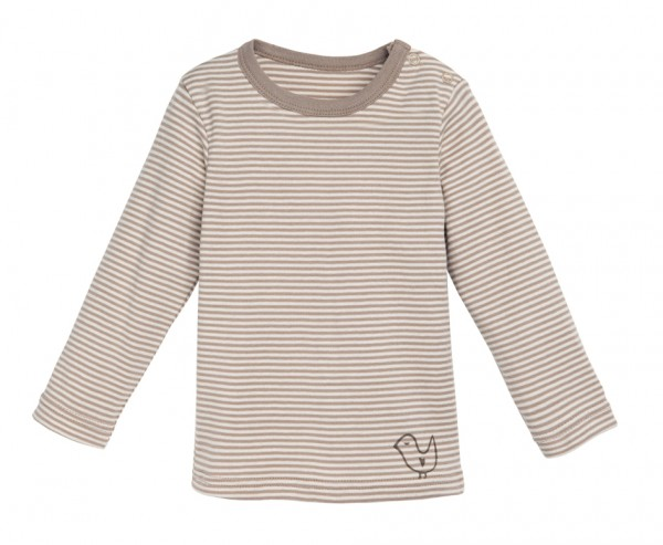 Baby Langarm-Shirt natural/taupe striped