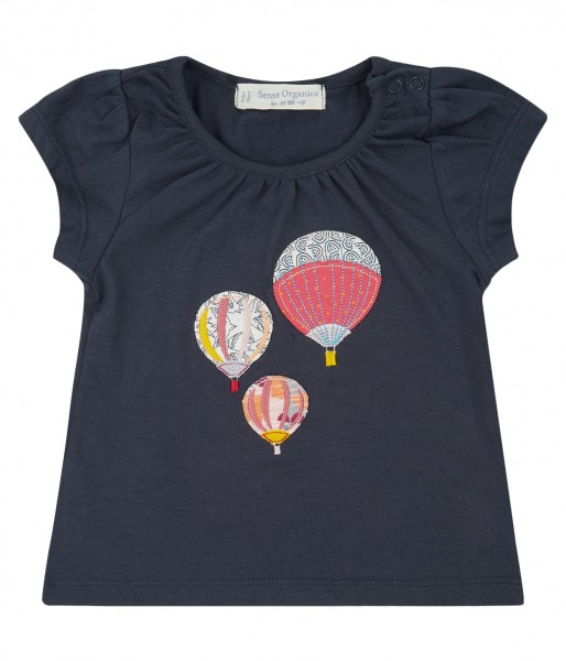 T-Shirt Navy mit Applikation Heißluftballon