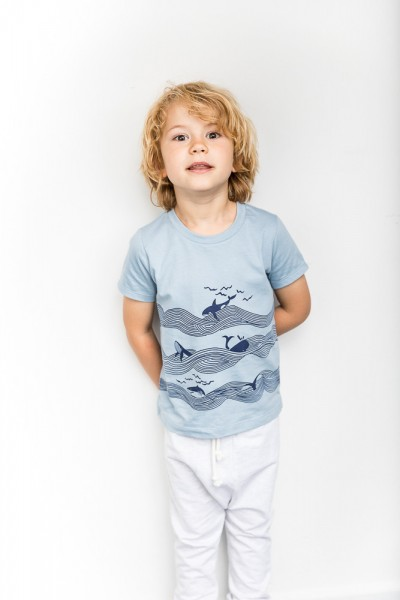 Shirt IBON Light Blue + Sea Whale Print
